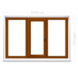 Трехстворчатое окно с ламинацией